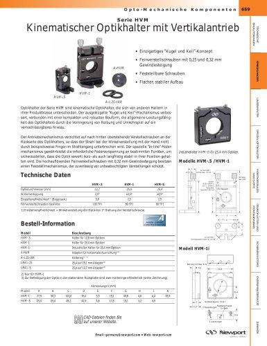 Serie HVM  Kinematischer Optikhalter mit Vertikalantrieb