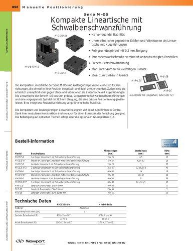 Serie M-DS Kompakte Lineartische mit  Schwalbenschwanzführung