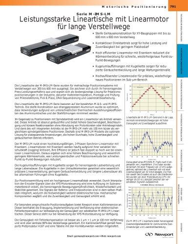 Serie M-IMS-LM  Leistungsstarke Lineartische mit Linearmotor für lange Verstellwege