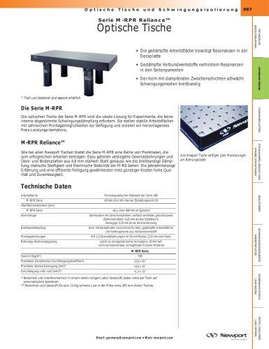 Serie M-RPR Reliance™ Optische Tische, Modulare Tischsysteme