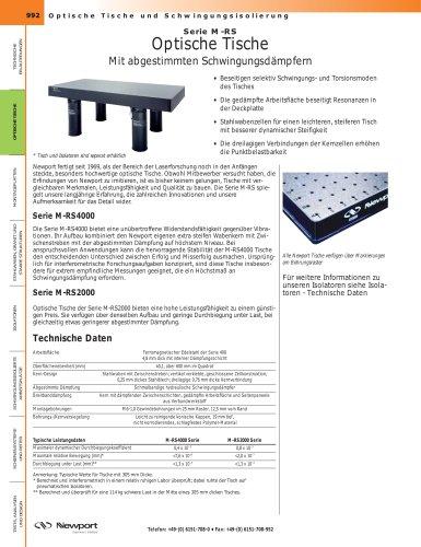 Serie M-RS Optische Tische Mit abgestimmten Schwingungsdämpfern