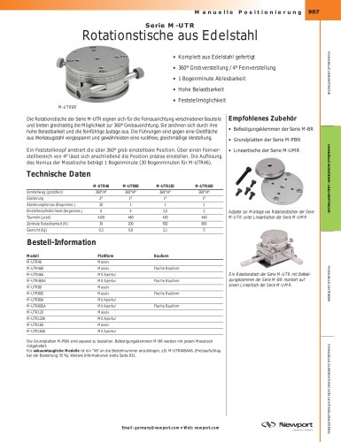 Serie M-UTR Rotationstische aus Edelstahl