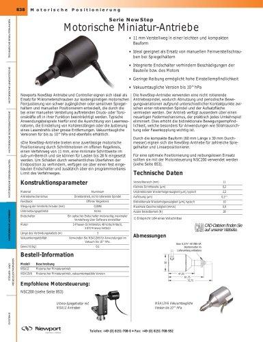 Serie NewStep Motorische Miniatur-Antriebe