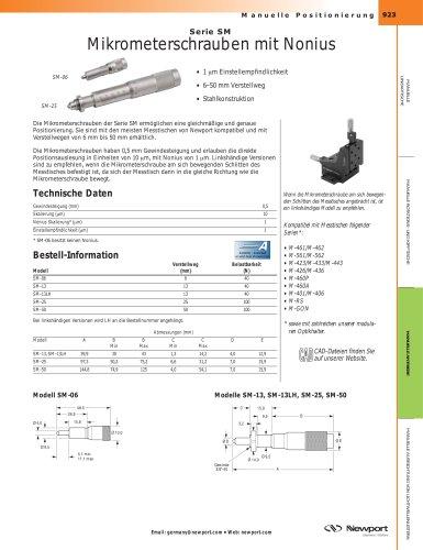 Serie SM Mikrometerschrauben mit Nonius