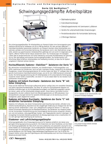 Serie VH IsoStation™ Schwingungsgedämpfte Arbeitsplätze