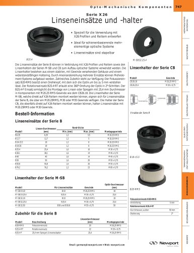 Serie X26 Linseneinsätze und -halter