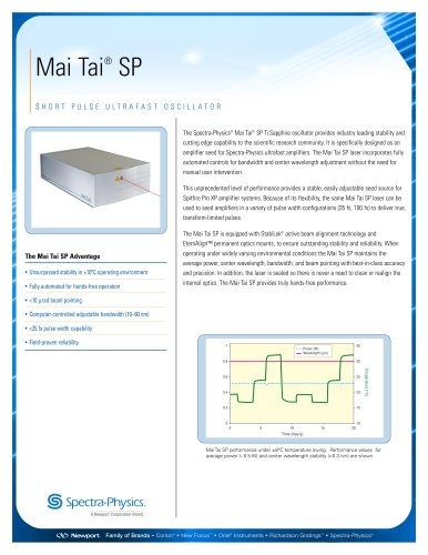 Short Pulse Ultrafast Oscillator-Mai Tai® SP