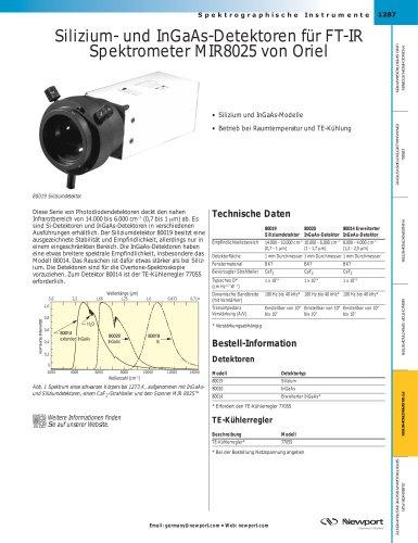 Silizium- und InGaAs-Detektoren für FT-IR Spektrometer MIR8025 von Oriel