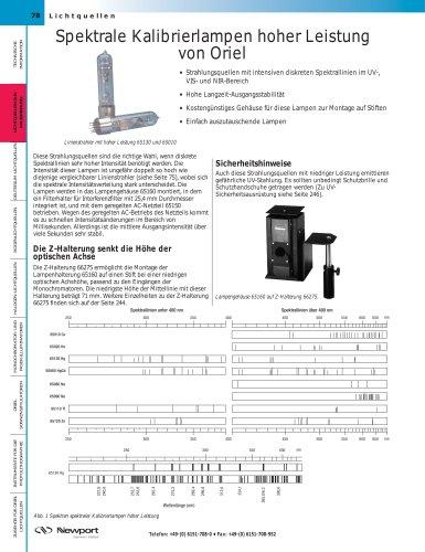 Spektrale Kalibrierlampen hoher Leistung  von Oriel
