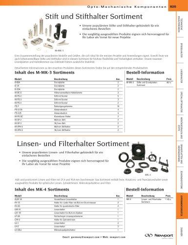 Stift und Stifthalter Sortiment, Linsen- und Filterhalter  Sortiment
