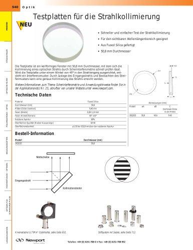 Testplatten für die Strahlkollimierung
