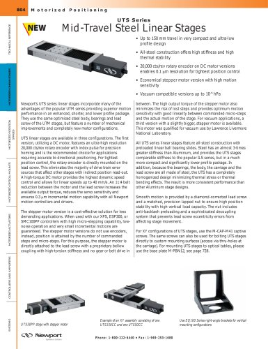 UTS Series Mid-Travel Steel Linear Stages