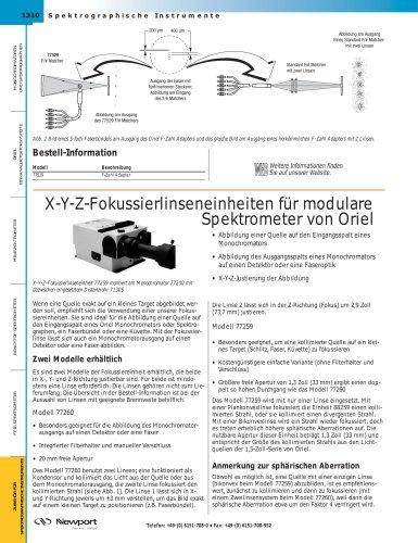 X-Y-Z-Fokussierlinseneinheiten für modulare Spektrometer von Oriel