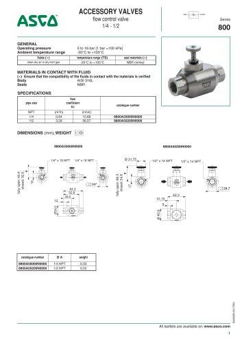 Catalogue-Accessories-Flow Controls and valves-800-Flow control valve