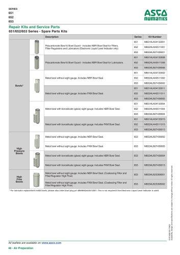 Catalogue-Air Preparation-651-652-653-Spare-Parts-Kits