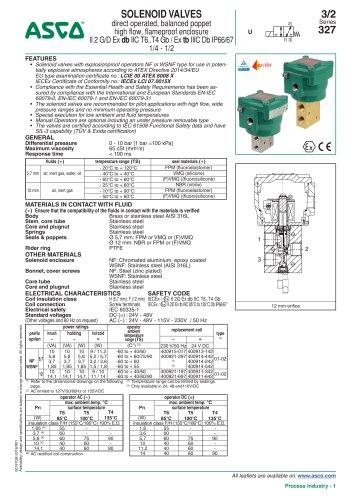 SOLENOID VALVES direct operated, balanced poppet high flow, flameproof enclosure II 2 G/D Ex db IIC T6..T4 Gb / Ex tb IIIC Db IP66/67 1/4 - 1/2