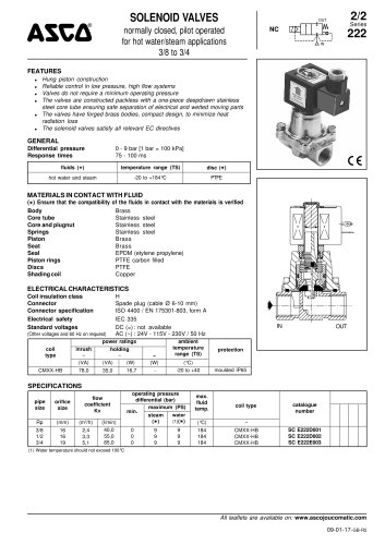 SOLENOID VALVES normally closed, pilot operated for hot water/steam applications