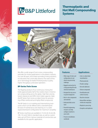 Thermoplastic and Hot Melt Compounding Systems