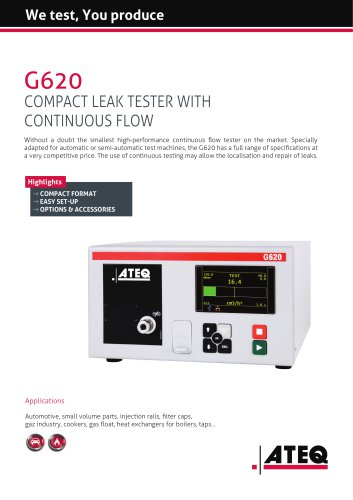 Leak tester with continuous flow   G620