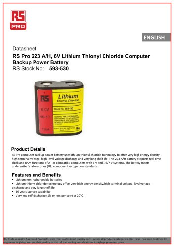 RS Pro 223 A/H, 6V Lithium Thionyl Chloride Computer Backup Power Battery