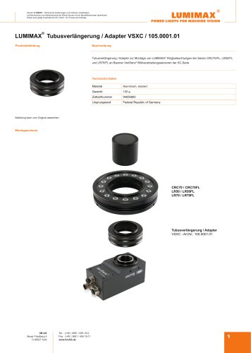 LUMIMAX Tubusverlängerung Adapter für Baumer VeriSens XC-Serie