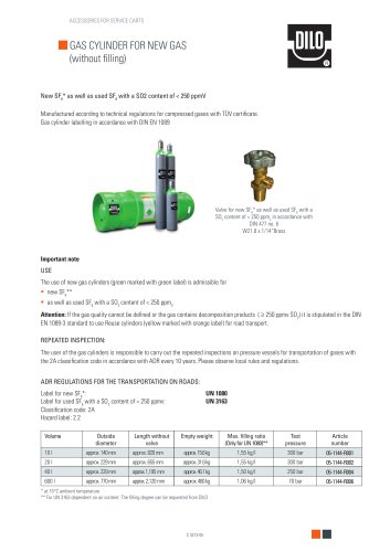 Gas cylinder for new gas