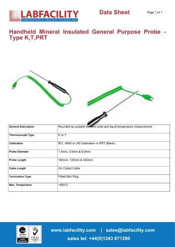 Handheld Mineral Insulated General Purpose Probe - Type K,T,PRT