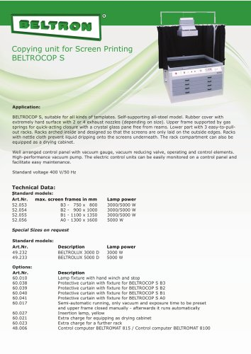 Copying unit for screen printing - BELTROCOP S
