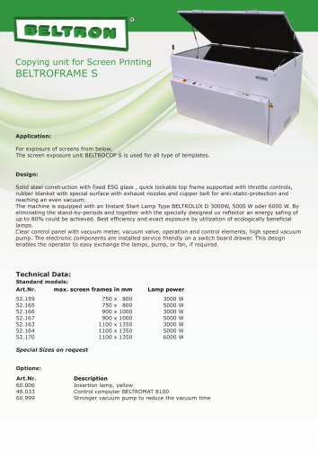 Copying unit for screen printing - BELTROFRAME S