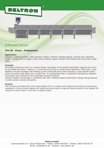 Infrared Dryer - The IR-Dryer-Programme
