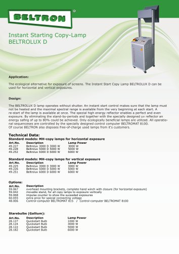 Instant Starting Copy-Lamp BELTROLUX D