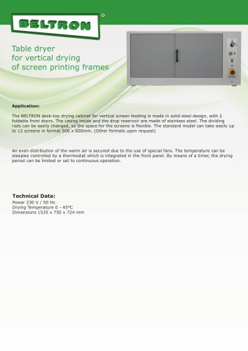 Table dryer for vertical drying of screen printing frames