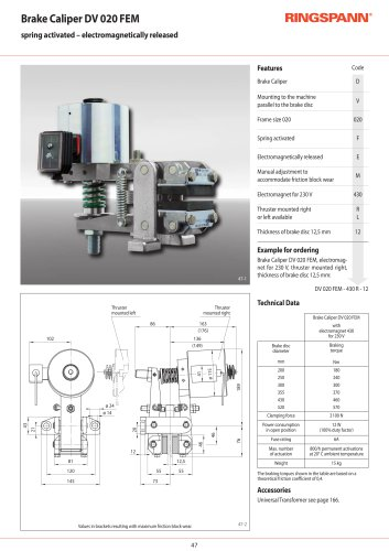 Brake Calipers DV 020 FEM - electromagnetically released