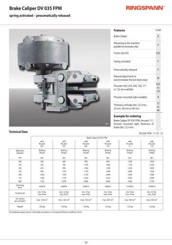 Pneumatic Brake Calipers DV 035 FPM RINGSPANN