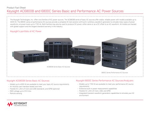 AC6800 Series and 6800B/C Series Basic and Performance AC Power Sources