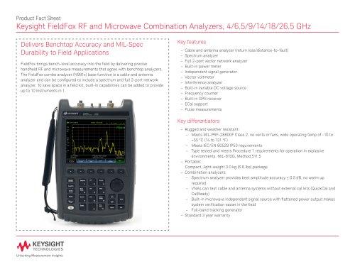 Keysight FieldFox RF and Microwave Combination Analyzers, 4/6.5/9/14/18/26.5 GHz