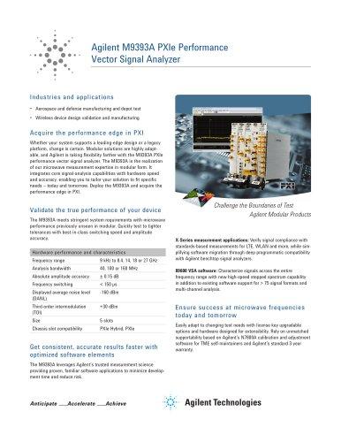 M9393A PXIe Performance Vector Signal Analyzer