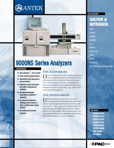 9000NS - TOTAL NITROGEN & SULFUR ANALYZER