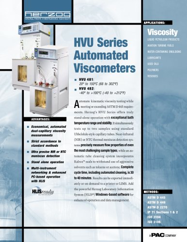 HVU 482 - AUTOMATIC LOW TEMPERATURE KINEMATIC VISCOSIMETER