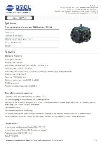 3 way 4 seals carbon steel PN16-40 ANSI 150