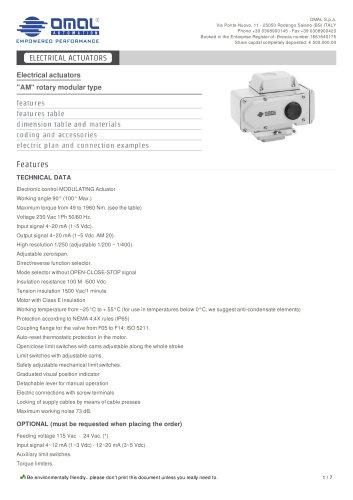 "Electrical actuators ""AM"" rotary modular type"