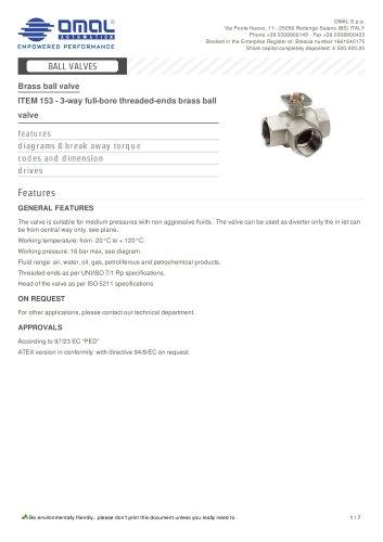 ITEM 153 - 3-way full-bore threaded-ends brass ball valve