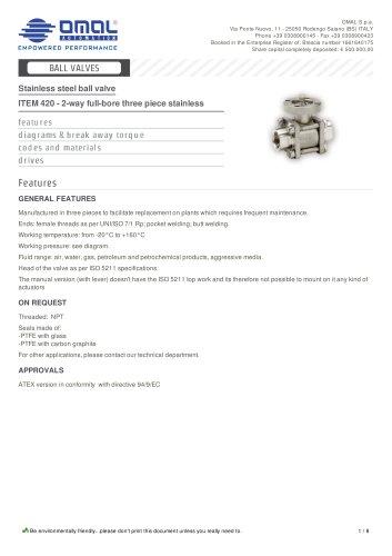 ITEM 420 - 2-way full-bore three piece stainless