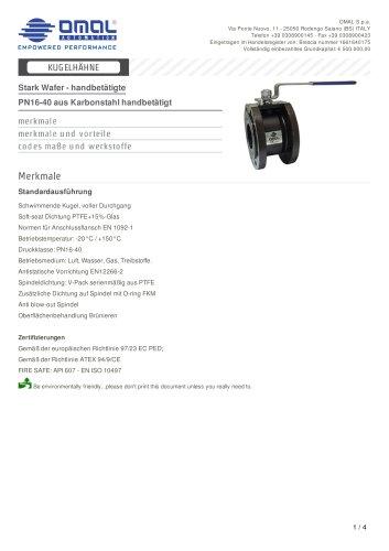 PN16-40 aus Karbonstahl handbetätigt