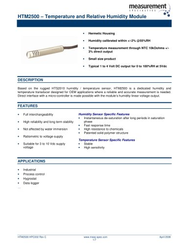 Humidity and Temperature Sensor - HTM2500