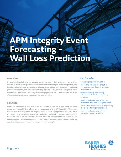 APM Integrity Event Forecasting – Wall Loss Prediction