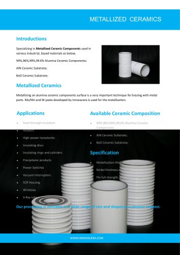 METALLIZED CERAMICS INSULATOR|Innovacera