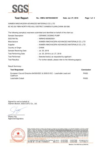 SGS test report for ceramic dosing pump
